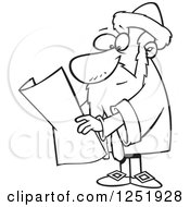 Clipart Of A Black And White Cartoon Johannes Gutenberg Royalty Free Vector Illustration