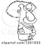 Clipart Of A Black And White Cartoon Albert Einstein Royalty Free Vector Illustration