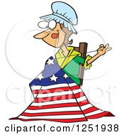 Clipart Of A Cartoon Betsy Ross Sewing The First American Flag Royalty Free Vector Illustration