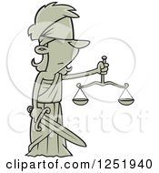 Cartoon Lady Justice Blindfolded With A Sword And Scales