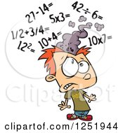 Clipart Of A Red Haired Caucasian Boy Getting A Sore Head From Math Royalty Free Vector Illustration