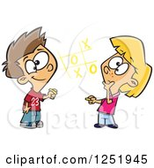 Clipart Of A White Boy And Girl Playing Tic Tac Toe Royalty Free Vector Illustration by toonaday