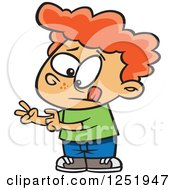 Clipart Of A Red Haired Caucasian Boy Counting His Fingers Royalty Free Vector Illustration