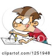 Brunette Caucasian Boy Using A Drafting Compass