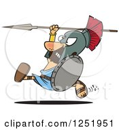 Cartoon Spartan Warrior Running With A Spear And Shield