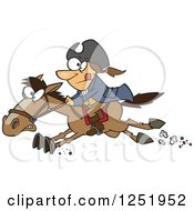 Clipart Of A Cartoon Paul Revere Riding A Horse Royalty Free Vector Illustration by toonaday