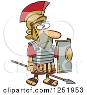 Clipart Of A Cartoon Roman Soldier Standing With A Spear And Shield Royalty Free Vector Illustration by toonaday