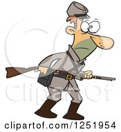 Clipart Of A Confederate Soldier With A Rifle Royalty Free Vector Illustration by toonaday