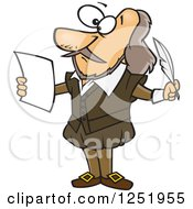 Clipart Of A Cartoon Shakespeare Writing A Play Royalty Free Vector Illustration by Ron Leishman