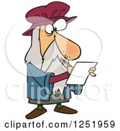 Clipart Of A Cartoon Leonardo Da Vinci Drawing Royalty Free Vector Illustration