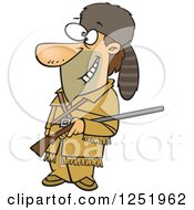 Clipart Of A Cartoon Davy Crockett Royalty Free Vector Illustration