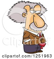 Clipart Of A Cartoon Albert Einstein Royalty Free Vector Illustration