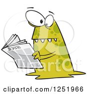 Clipart Of A Spotted Green Monster Reading The Job Classifieds Royalty Free Vector Illustration by toonaday