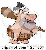 Clipart Of A Cartoon Caveman Carrying A Club Royalty Free Vector Illustration