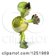 Clipart Of A 3d Tortoise Wearing Sunglasses And Taking Pictures With A Camera 4 Royalty Free Illustration
