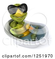 Clipart Of A 3d Tortoise Wearing Sunglasses And Sitting In A Tub With A Duck Inner Tube Royalty Free Illustration