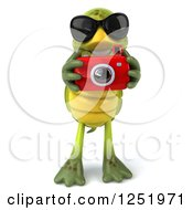 Clipart Of A 3d Tortoise Wearing Sunglasses And Taking Pictures With A Camera 3 Royalty Free Illustration