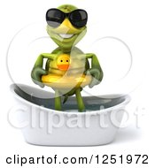 Clipart Of A 3d Tortoise Wearing Sunglasses And Standing In A Tub With A Duck Inner Tube Royalty Free Illustration
