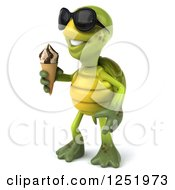 Clipart Of A 3d Tortoise Wearing Sunglasses And Holding An Ice Cream Cone 2 Royalty Free Illustration