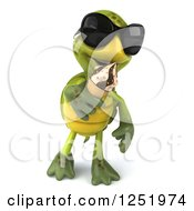 Clipart Of A 3d Tortoise Wearing Sunglasses Walking And Eating An Ice Cream Cone Royalty Free Illustration