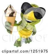 Clipart Of A 3d Tortoise Wearing Sunglasses And Holding Up An Ice Cream Cone Royalty Free Illustration