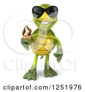 Clipart Of A 3d Tortoise Wearing Sunglasses And Holding An Ice Cream Cone Royalty Free Illustration by Julos