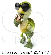 Clipart Of A 3d Tortoise Wearing Sunglasses Walking And Eating An Ice Cream Cone 2 Royalty Free Illustration