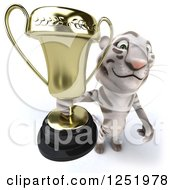Clipart Of A 3d White Tiger Holding Up A Trophy Cup 2 Royalty Free Illustration