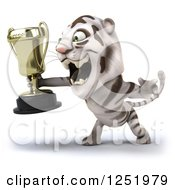 Clipart Of A 3d White Tiger Roaring And Holding A Trophy Cup 2 Royalty Free Illustration