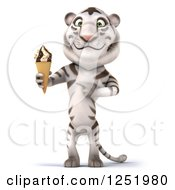 Clipart Of A 3d White Tiger Holding And Pointing To An Ice Cream Cone Royalty Free Illustration