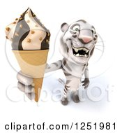 Clipart Of A 3d White Tiger Holding Up An Ice Cream Cone Royalty Free Illustration
