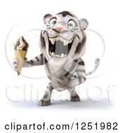 Clipart Of A 3d White Tiger Roaring And Holding An Ice Cream Cone Royalty Free Illustration