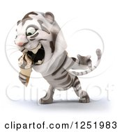 Clipart Of A 3d White Tiger Eating An Ice Cream Cone Royalty Free Illustration