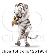 Clipart Of A 3d White Tiger Walking And Eating An Ice Cream Cone Royalty Free Illustration