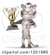 Clipart Of A 3d White Tiger Holding And Pointing To A Trophy Cup Royalty Free Illustration