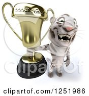 Clipart Of A 3d White Tiger Holding Up A Trophy Cup Royalty Free Illustration