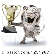 Clipart Of A 3d White Tiger Roaring And Holding A Trophy Cup Royalty Free Illustration