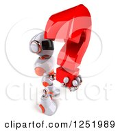 Clipart Of A 3d White And Orange Robot Holding A Question Mark Royalty Free Illustration