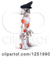 Clipart Of A 3d White And Orange Male Techno Robot Police Officer 2 Royalty Free Illustration