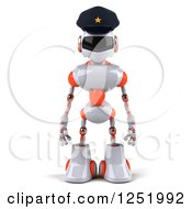 Clipart Of A 3d White And Orange Male Techno Robot Police Officer Royalty Free Illustration