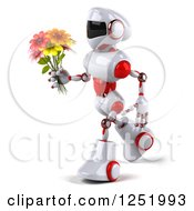 Clipart Of A 3d White And Red Robot Walking And Holding A Flower Bouquet Royalty Free Illustration