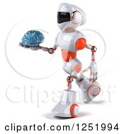 Clipart Of A 3d White And Orange Robot Walking And Holding A Glass Brain Royalty Free Illustration