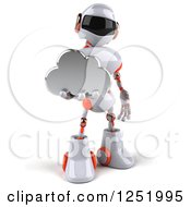 Clipart Of A 3d White And Orange Robot Holding A Cloud Royalty Free Illustration
