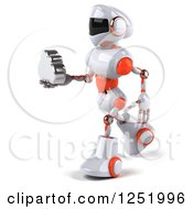 Clipart Of A 3d White And Orange Robot Holding A Cloud 2 Royalty Free Illustration