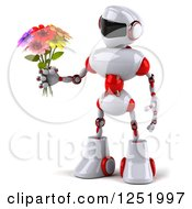 3d White And Red Robot Holding A Flower Bouquet