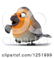 Clipart Of A 3d Red Robin Bird Walking 2 Royalty Free Illustration