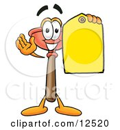 Sink Plunger Mascot Cartoon Character Holding A Yellow Sales Price Tag