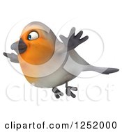 Clipart Of A 3d Red Robin Bird Flying 2 Royalty Free Illustration