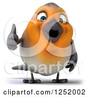 Clipart Of A 3d Red Robin Bird Holding A Thumb Up Royalty Free Illustration
