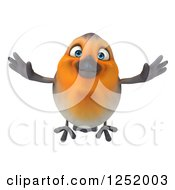 Clipart Of A 3d Red Robin Bird Flying Royalty Free Illustration by Julos